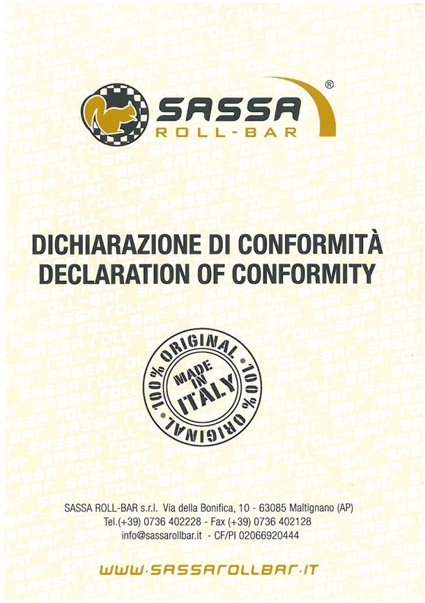 Declaration of Conformity for safety cages